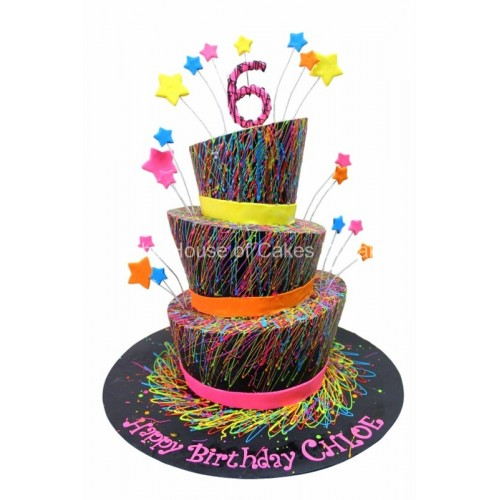 colorful paints topsy turvy cake 7