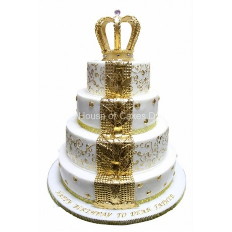 white and gold fleur de lis cake with crown 6