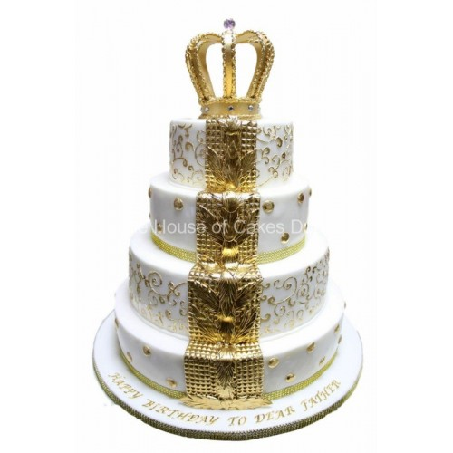 white and gold fleur de lis cake with crown 7