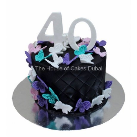40th birthday cake with butterflies
