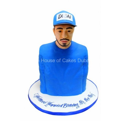 3D Arab men cake with hat and blue kandora