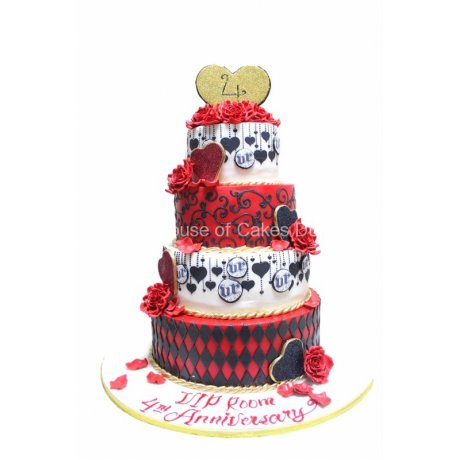 black red white and gold cake 6