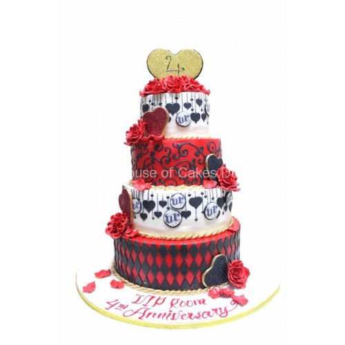 black red white and gold cake 7