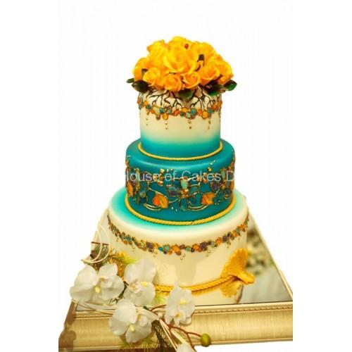 Yellow blue and white cake