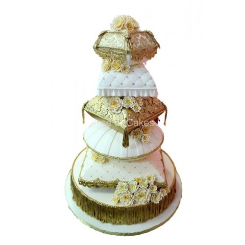 gold and white pillows cake 7