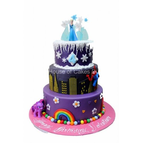 my little pony, spiderman and frozen cake 7
