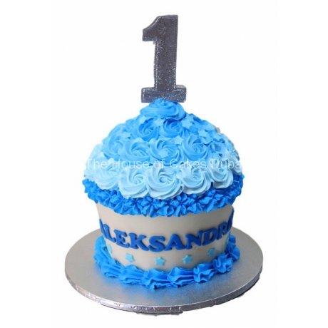 blue cupcake shaped cake 6
