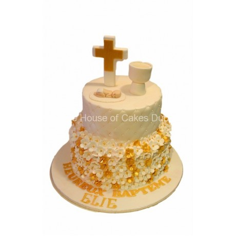 white and gold christening cake 6