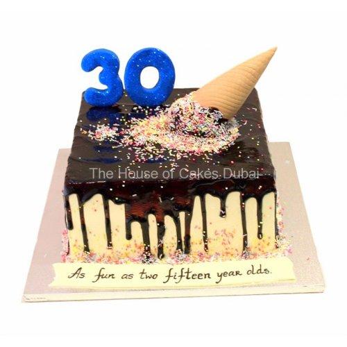 Dripping and ice cream cake