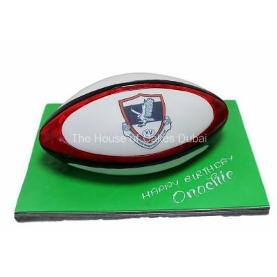 Dubai exciles rugby ball cake