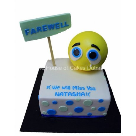 Farewell cake crying face