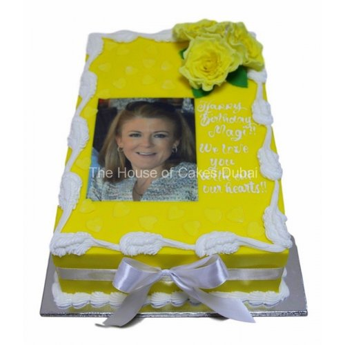 Cake with photo and yellow roses