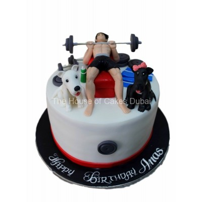 Fitness cake with dogs