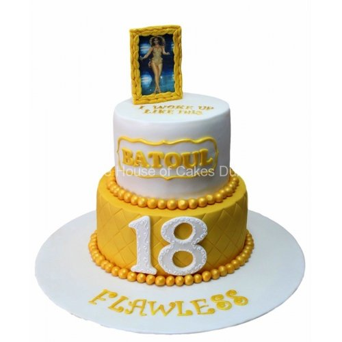 18th birthday cake with photo on top