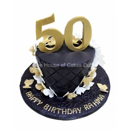 Groovy 50Th Birthday Cake With Butterflies Personalised Birthday Cards Bromeletsinfo