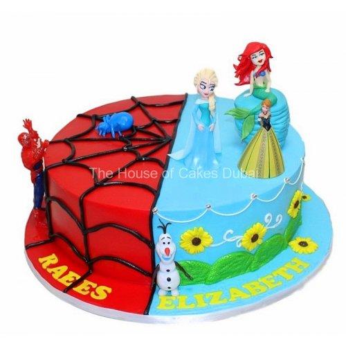 Half Spiderman Half Frozen and Ariel Cake