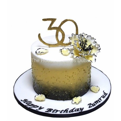 30th birthday cake in gold, black and white 6