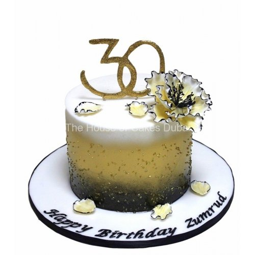 30th birthday cake in gold, black and white 8