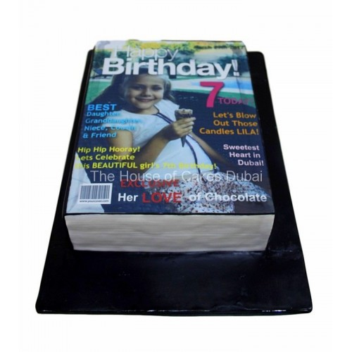 Happy birthday magazine cake