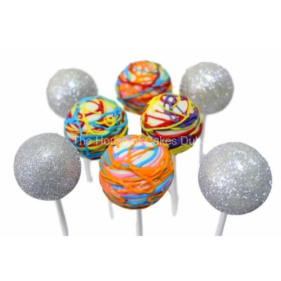 Silver and colorful cake pops