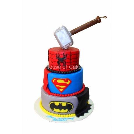 Batman, Superman and Spiderman superheroes cake