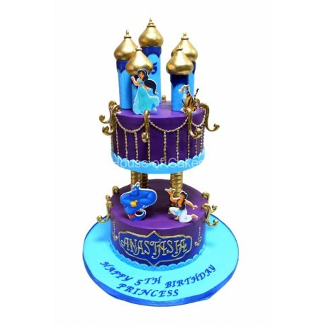 Aladdine and Jasmine castle cake