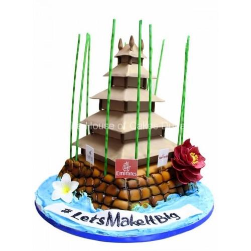 Bali temple building cake