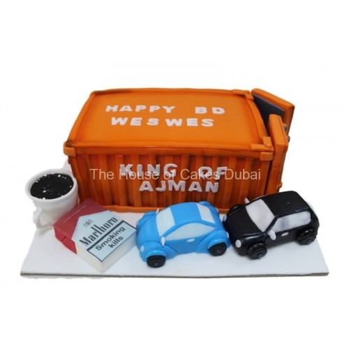 cake with container, cigarettes, cars and coffee 7