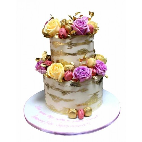 gold macarons yellow and purple roses cake 14
