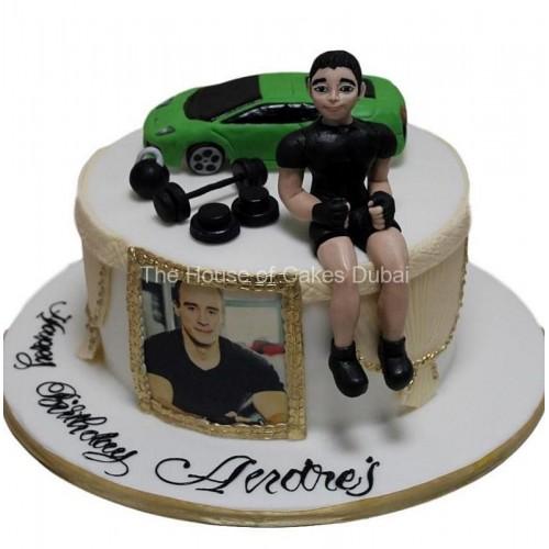 Men car weight lifting cake