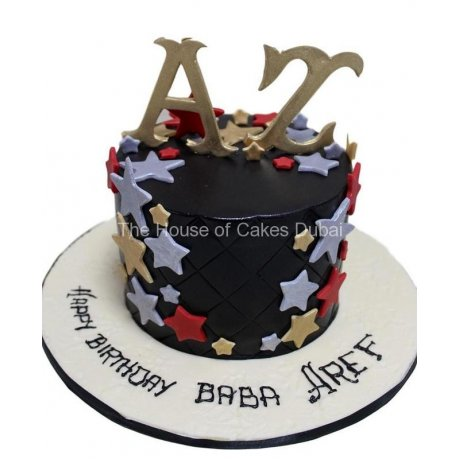 Cake with letters and stars