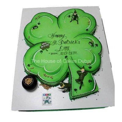 Irish shamrock and leprechauns cake