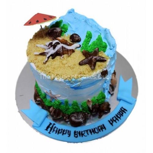 Beach theme cake 3