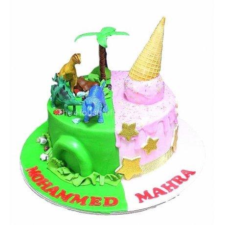 Half dinosaurs half ice cream cake