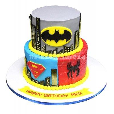 Batman, Superman and Spiderman Cake 2