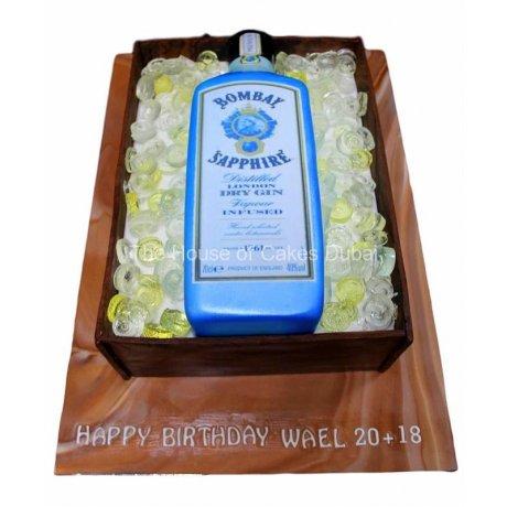 bombay sapphire gin bottle cake 6