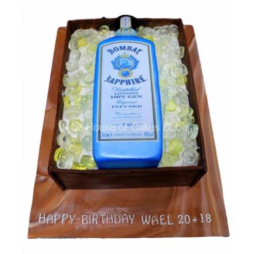 Bombay Sapphire Gin bottle cake