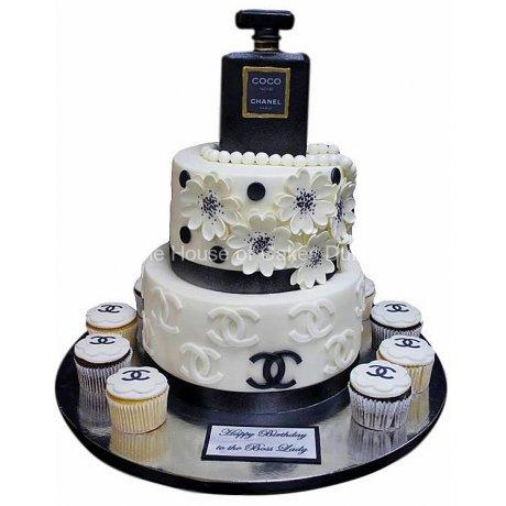 Chanel perfume cake and cupcakes