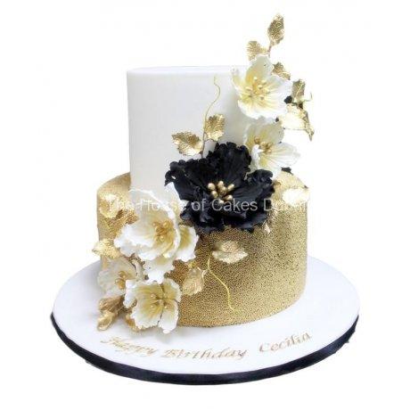 elegant gold white and black cake 6