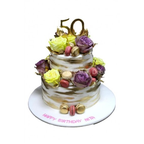 gold macarons yellow and purple roses cake 13