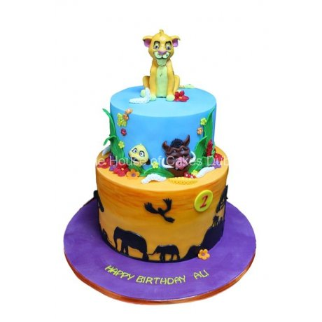 Simba jungle theme cake