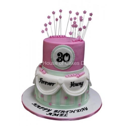 Wondrous Forever Young 30Th Birthday Cake Funny Birthday Cards Online Elaedamsfinfo