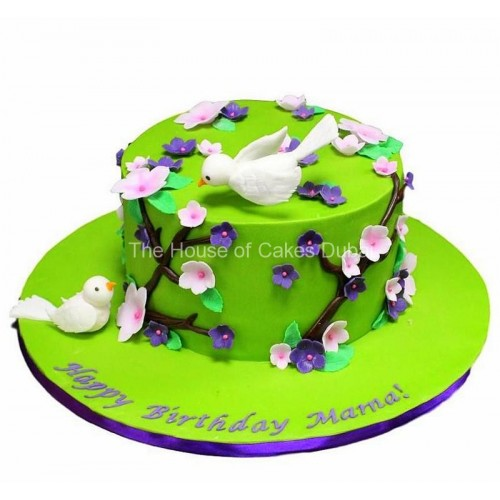 Birds and flowers cake 3