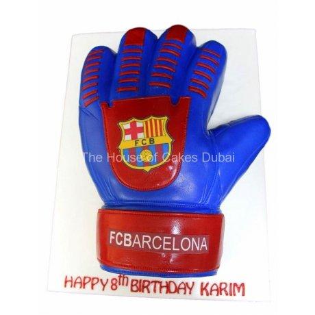 Barcelona goalkeeper glove cake