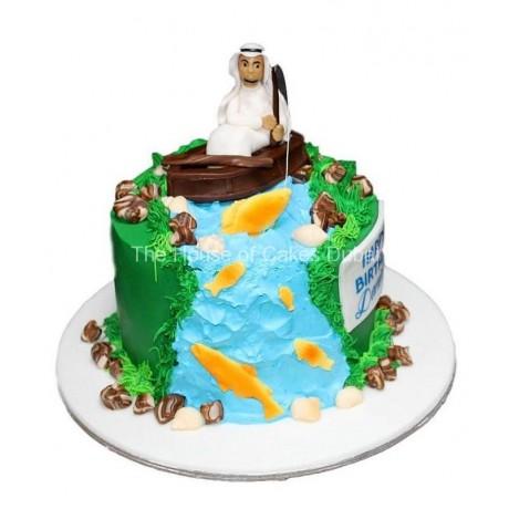 Arab men fishing cake