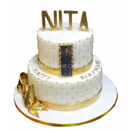 White and gold cake 5