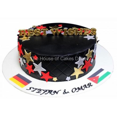 Black cake with stars