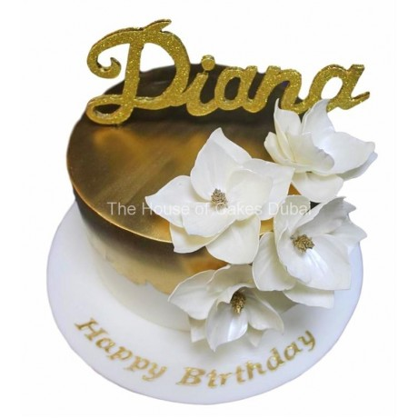 gold and white cake 6 7