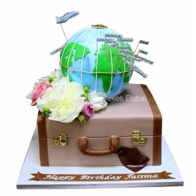 Suitcase and globe cake 2