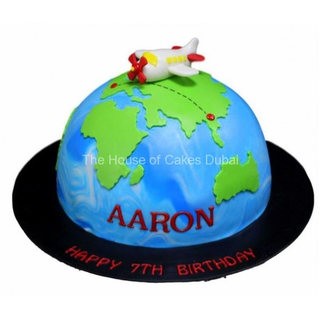 globe and plane cake 7